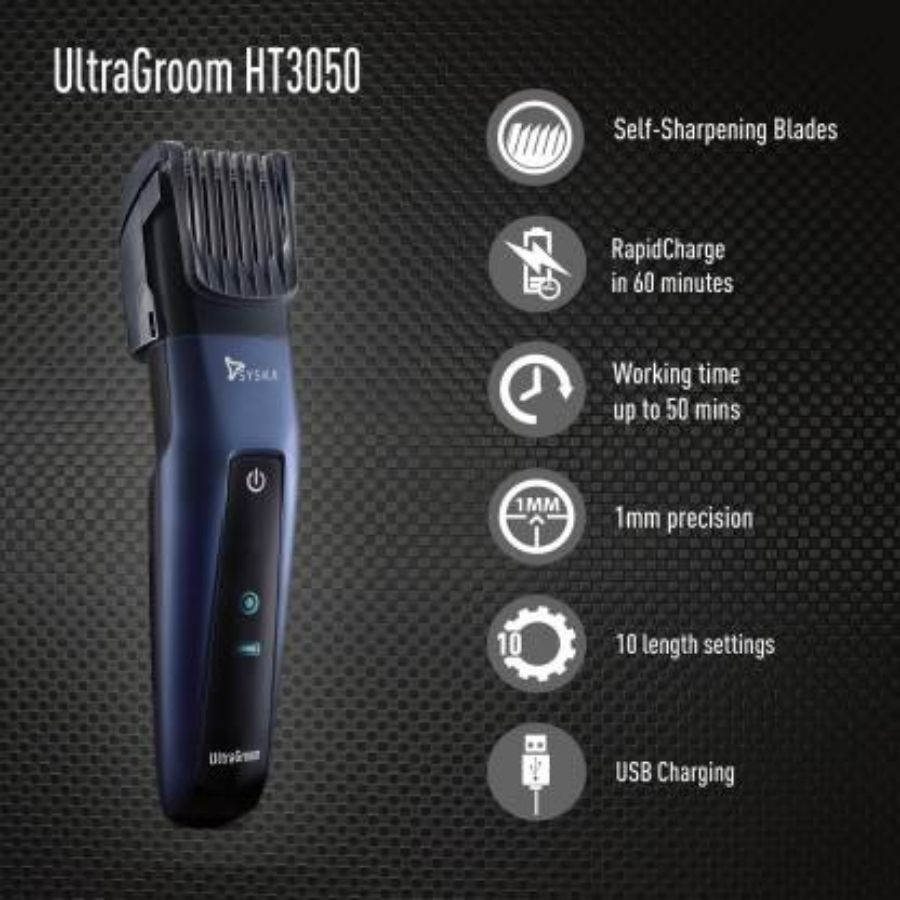 Syska HT3050-UltraGroom Runtime:50 min Trimmer for Men(Blue)