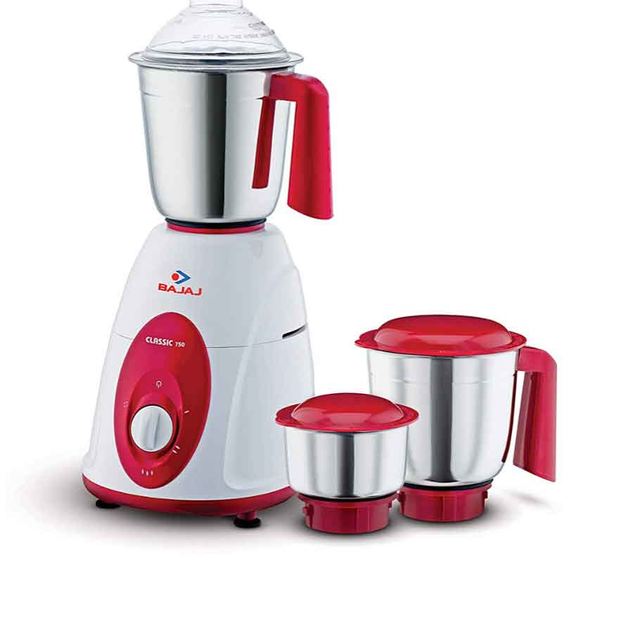 Bajaj Classic Mixer Grinder 750W, 3 Jars (White and Maroon)