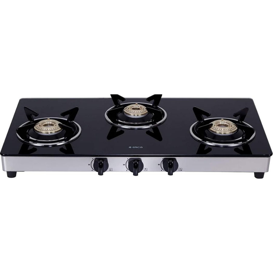 Elica Vetro Glass 3 Burner Gas Stove 703 CT VETRO BK/SS
