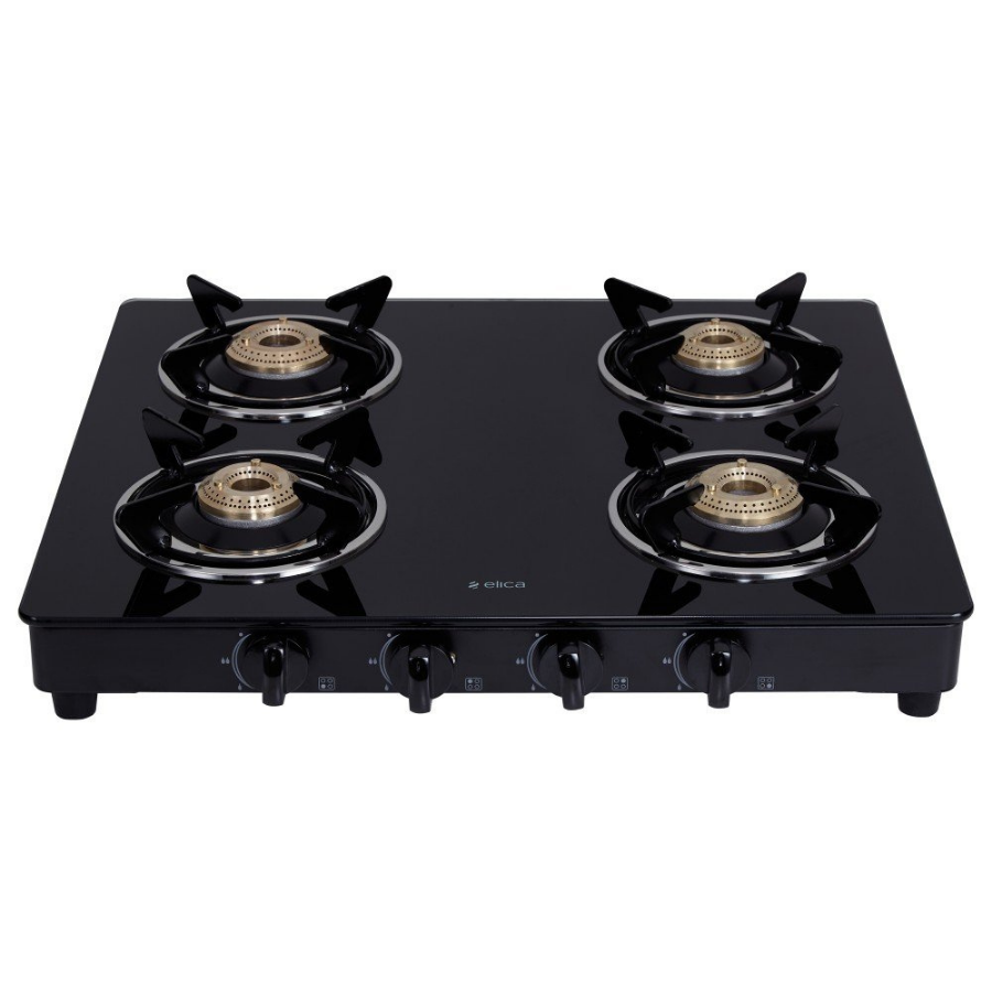 Elica Vetro Glass Top 4 Burner Gas Stove(594 CT VETRO BLK)