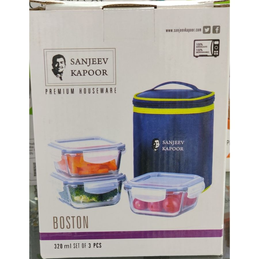 Sanjeev Kapoor Boston Borosilicate Glass Round Lunch Box
