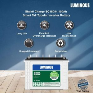 Luminous SC 18054 150 Ah Tall Tubular Inverter Battery